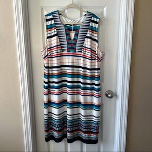 Madison Leigh turquoise striped shift dress